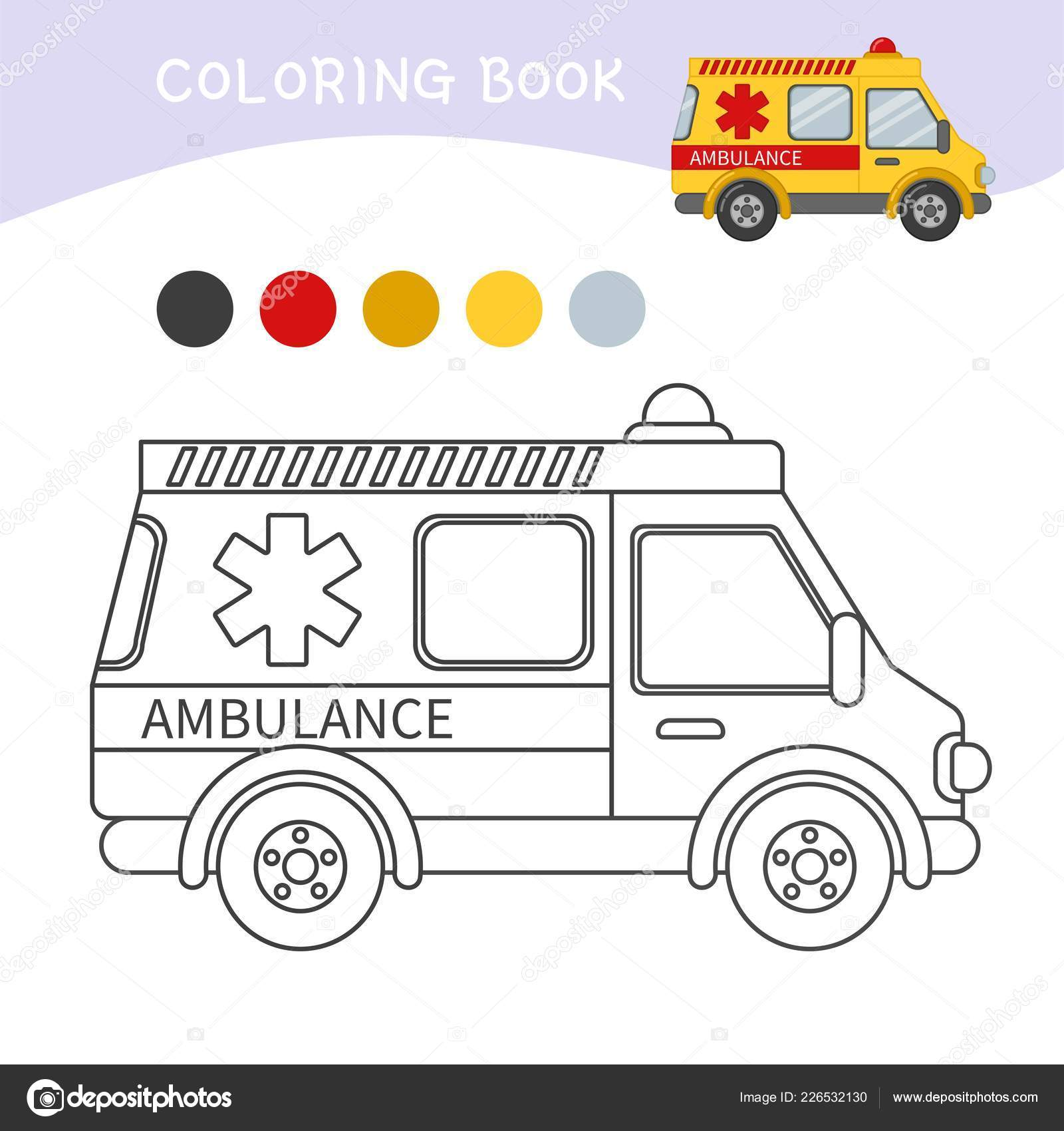 Coloring Book Children Cartoon Ambulance Stock Vector