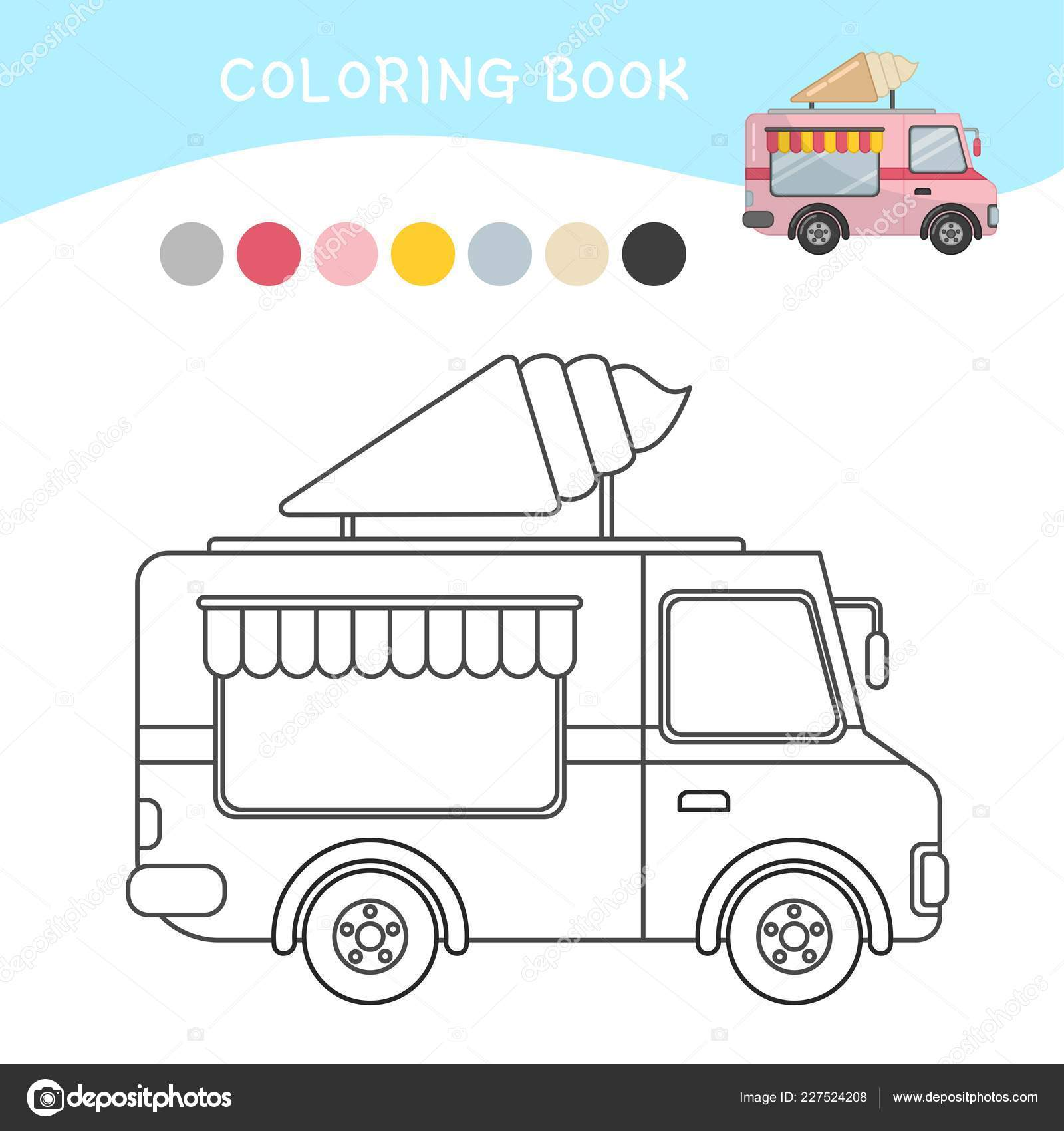 Picture Ice Cream Truck Coloring Pages Coloring Book Children