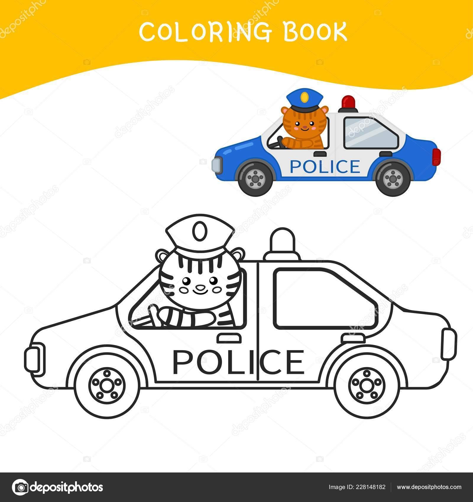 Libro Colorare Bambini Auto Della Polizia Del Fumetto