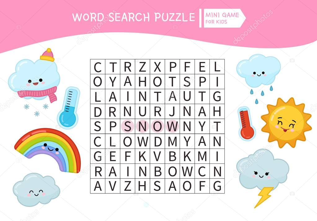 Words puzzle children educational game. Place the letters in right order. Learning vocabulary.  Cartoon weather.