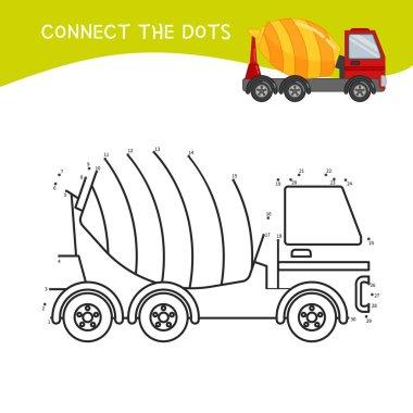 Educational game for kids. Dot to dot game for children. Cartoon construction equipment..