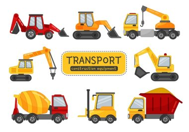 Vector set of construction equipment. Illustration in cartoon style.