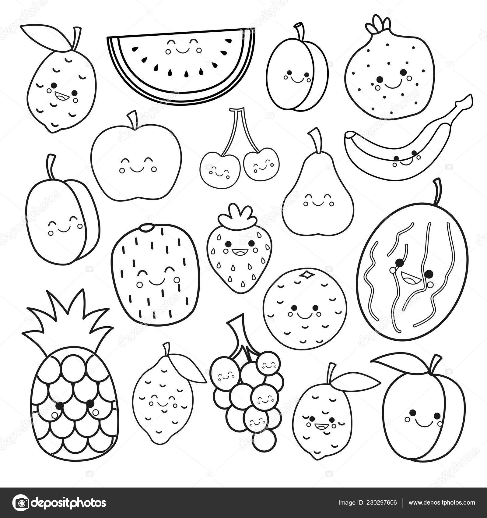 Vector Set Cute Fruits Coloring Book Kids — Stock Vector ...
