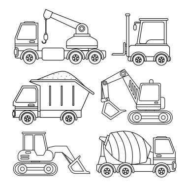 Vector set of special equipment. Coloring book  for kids.