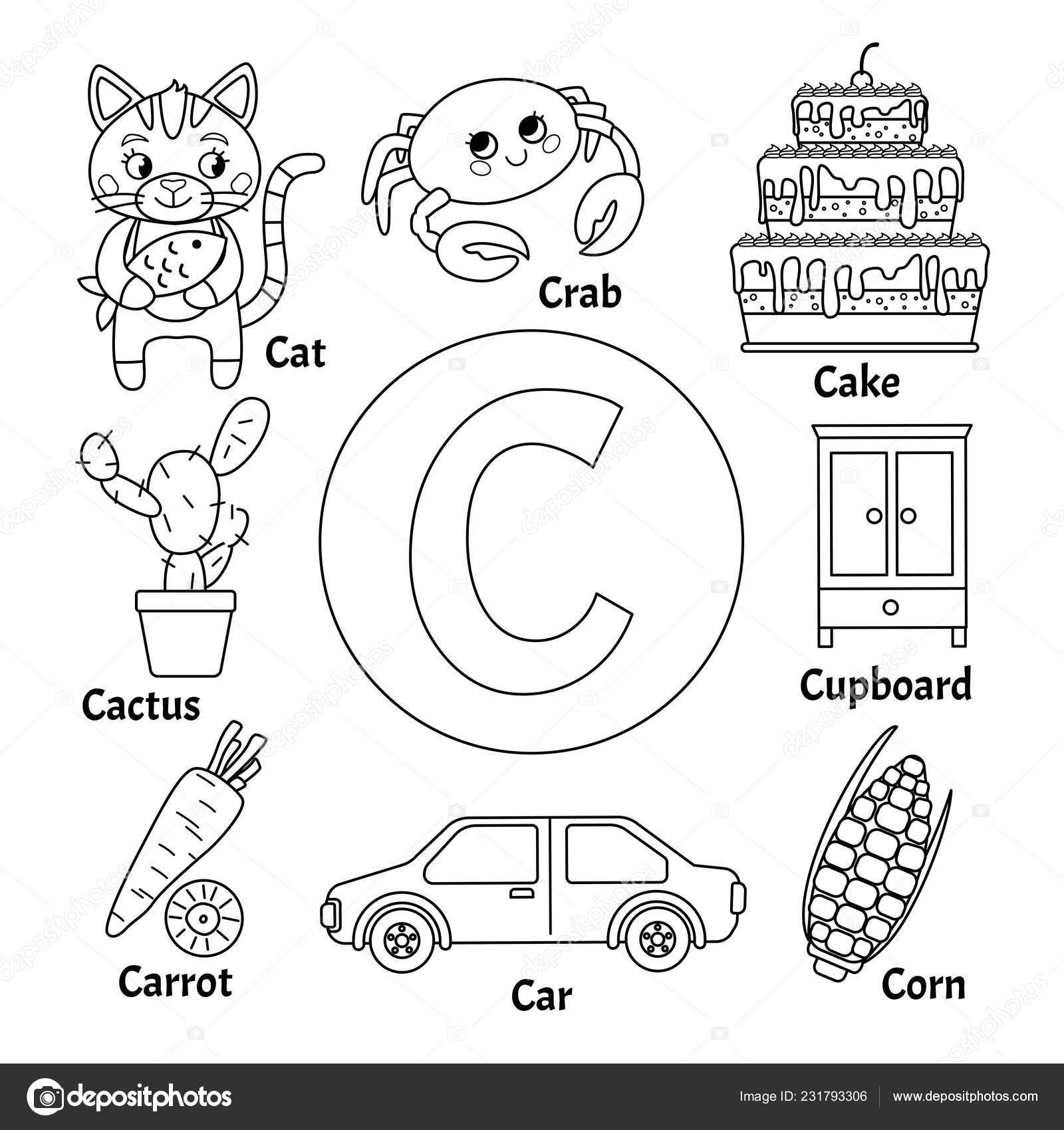 Alfabeto Tarjeta Aprendizaje Letra Conjunto Ilustraciones