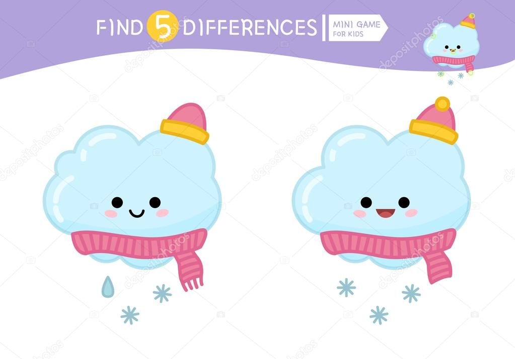 Find differences.  Educational game for children. Cartoon vector illustration of cute cloud.