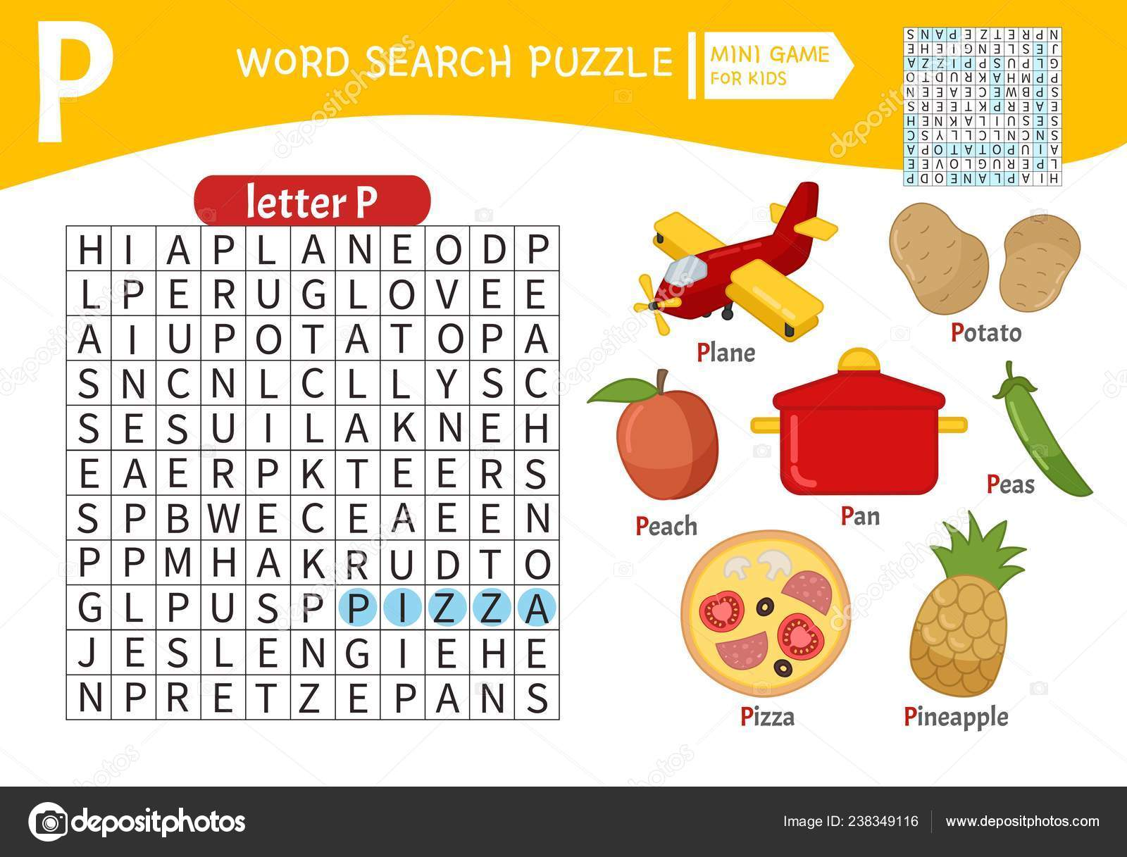 Words Puzzle Children Educational Game Learning Vocabulary ...