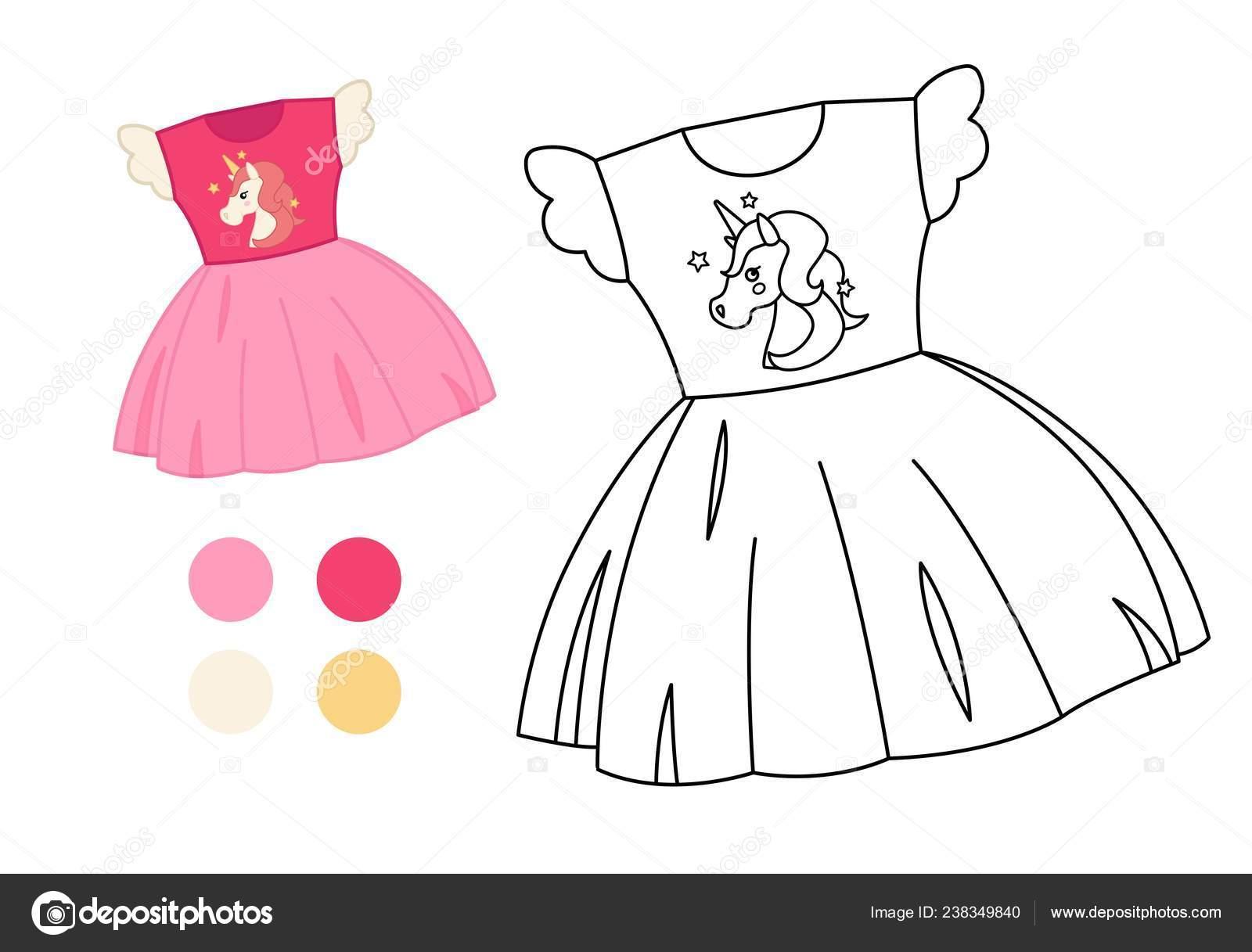 Coloring Book Children Cartoon Dress Stock Vector C Igdeevaalena
