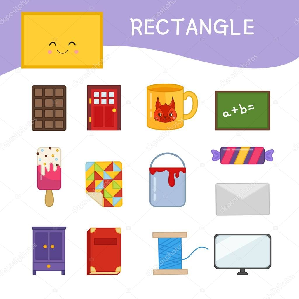 Materials Kids Learning Forms Set Rectangle Shaped Objects ...