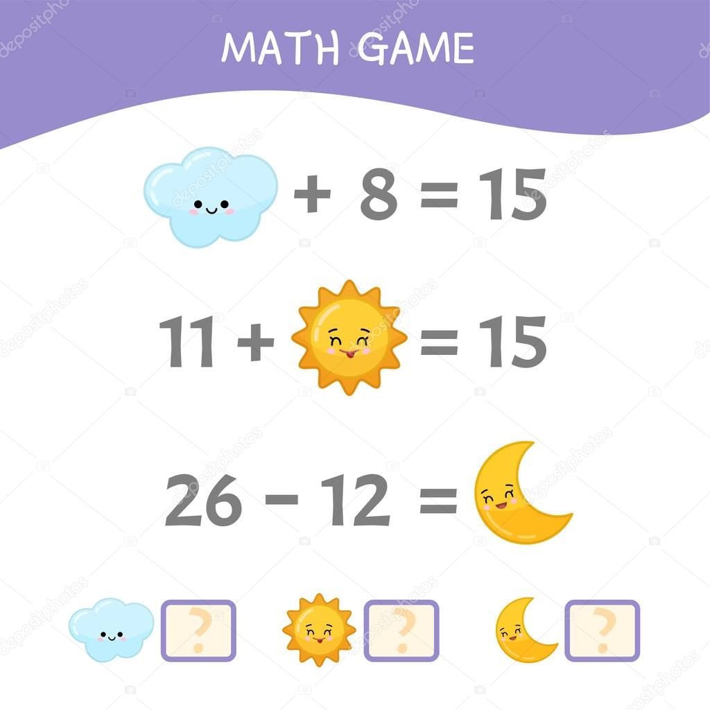 Counting educational children game, math kids activity sheet. Cartoon cute sun, moon and cloud.