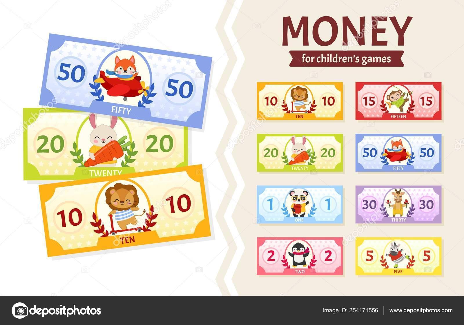 Vector Conjunto Billetes Para Juegos Los Niños Animales