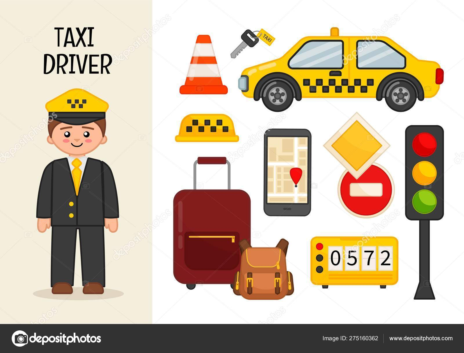 Vector Character Taxi Driver Illustrations Taxi Driver