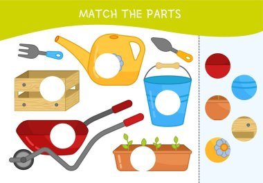 Matching children educational game. Match parts of gsarden tool. Activity for pre school years kids and toddlers.