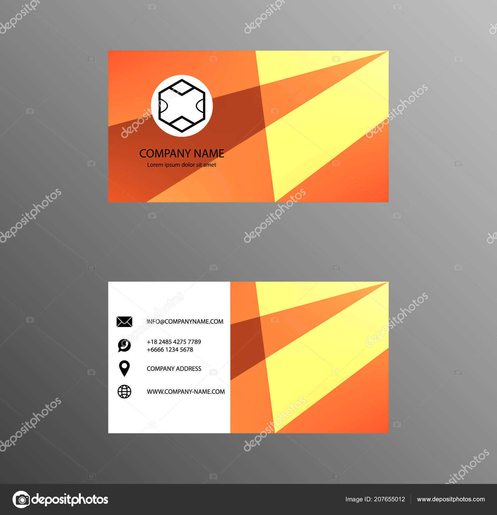 Jeu De Carte Visite Design Couleur Jaune Et Orange Fiche Contact Pour La Socit Bannires Infographie Abstrait Moderne Peint Gomtrique