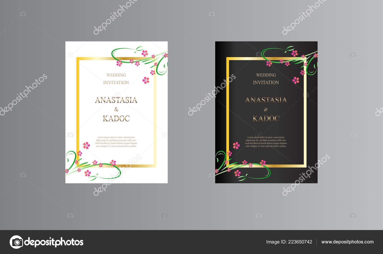 Set Wedding Invitation Card Design Floral Brush Flower
