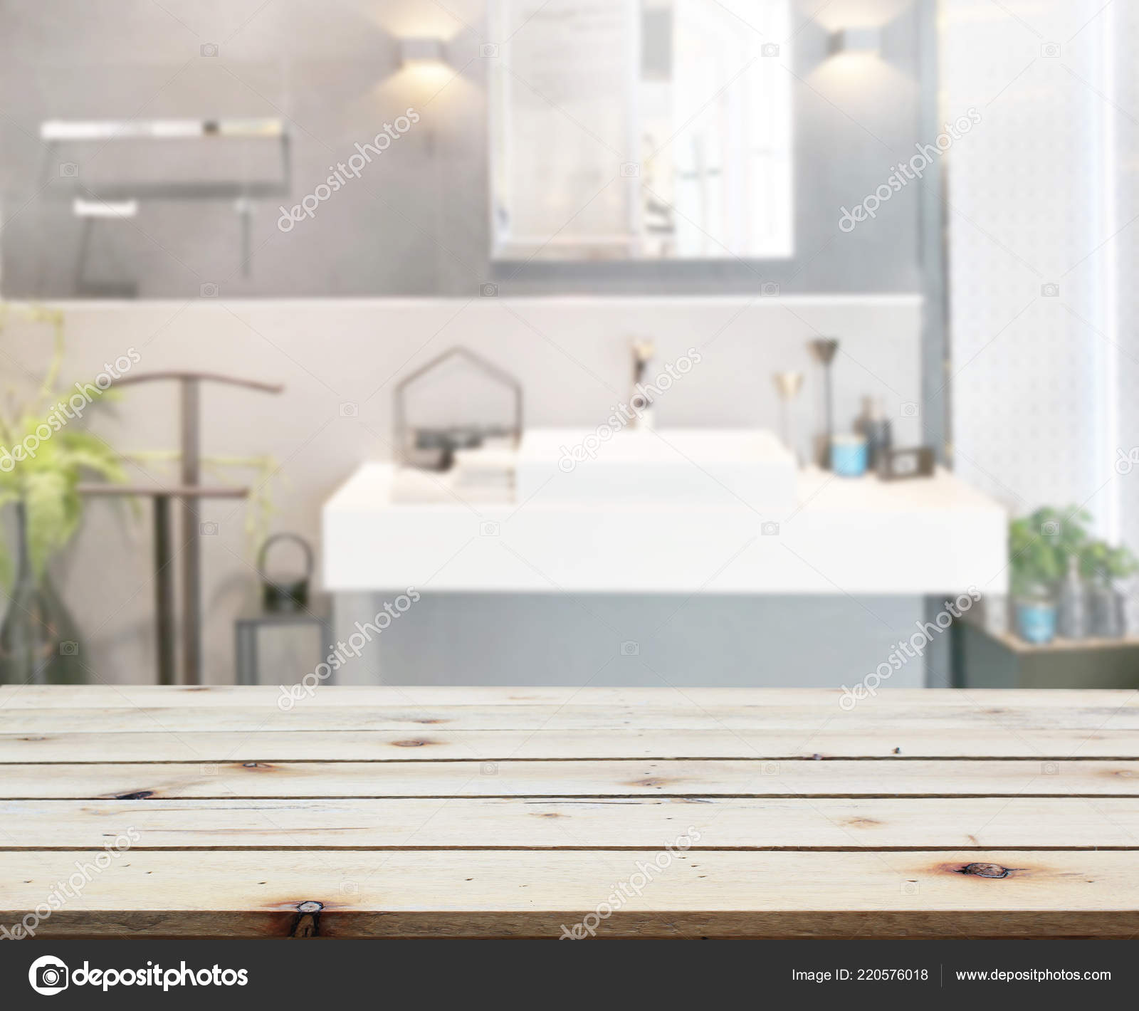 Table Top Blur Bathroom Background Stock Photo C Nuttapoldpspt