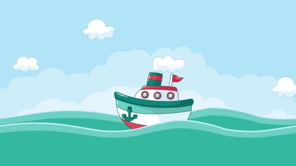 Cartoni anime barca sul mare con le nubi