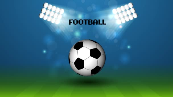Labdarúgás futball stadionban, 4 k felbontású 3D-s labda