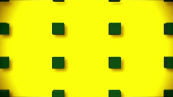 Absztrakt geometrikus zöld négyzet lefelé 3D kocka hurok hatása villogó bizonytalan