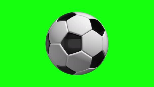Zelená obrazovka rotující míč fotbal fotbal sportovní smyčka 3d