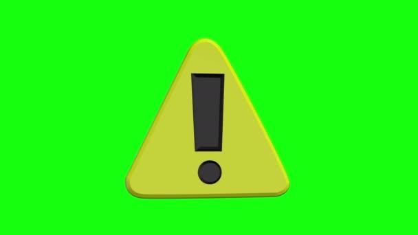 zelená obrazovka žlutá výstražná značka upozornění smyčka