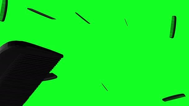 Zöld képernyő eső fekete fésű alá animáció 3d
