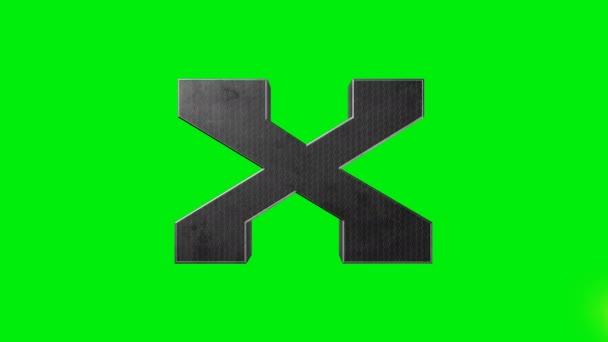 Green screen metallic alphabet letter X laser animation