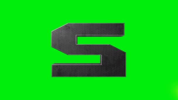Animace laserem zelené abecedy S