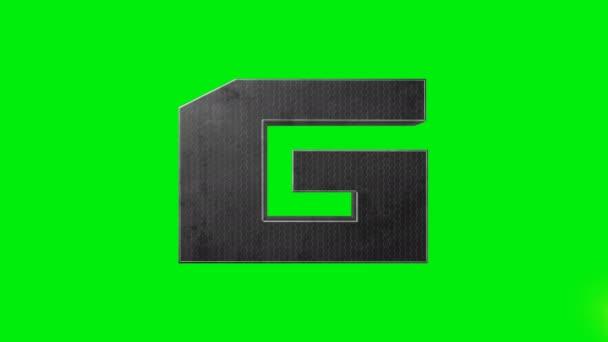 Zelená obrazovka kovová abeceda písmeno G laser animace