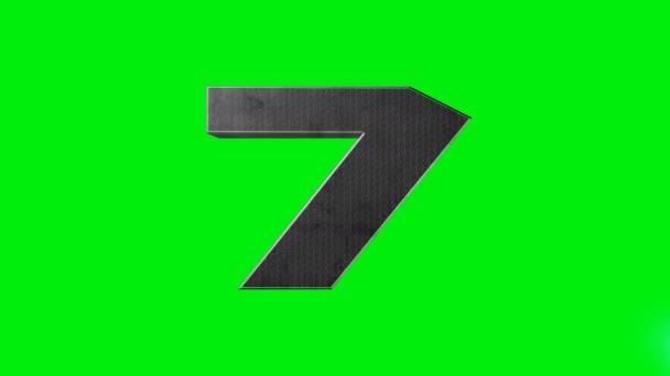 Zelená obrazovka metalické číslo sedm 7 laserová animace