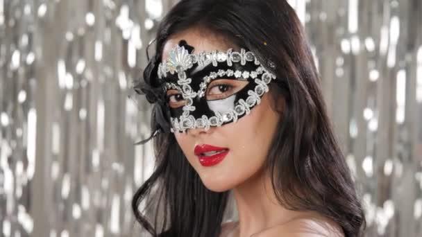 Szexi nő visel, maskara maszk Flört Party