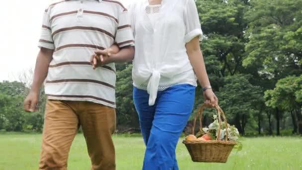 Starší pár lidí těší na jarní den v přírodě a jít na piknik s happy emotion.