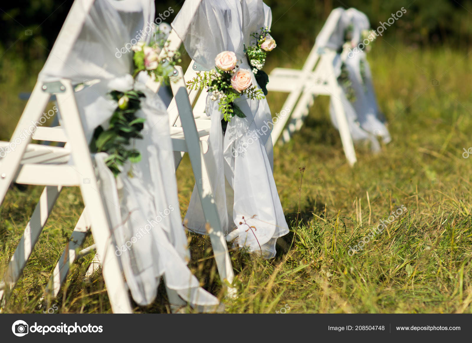 Chairs Guests Floral Wedding Decor Outdoor Wedding Ceremony