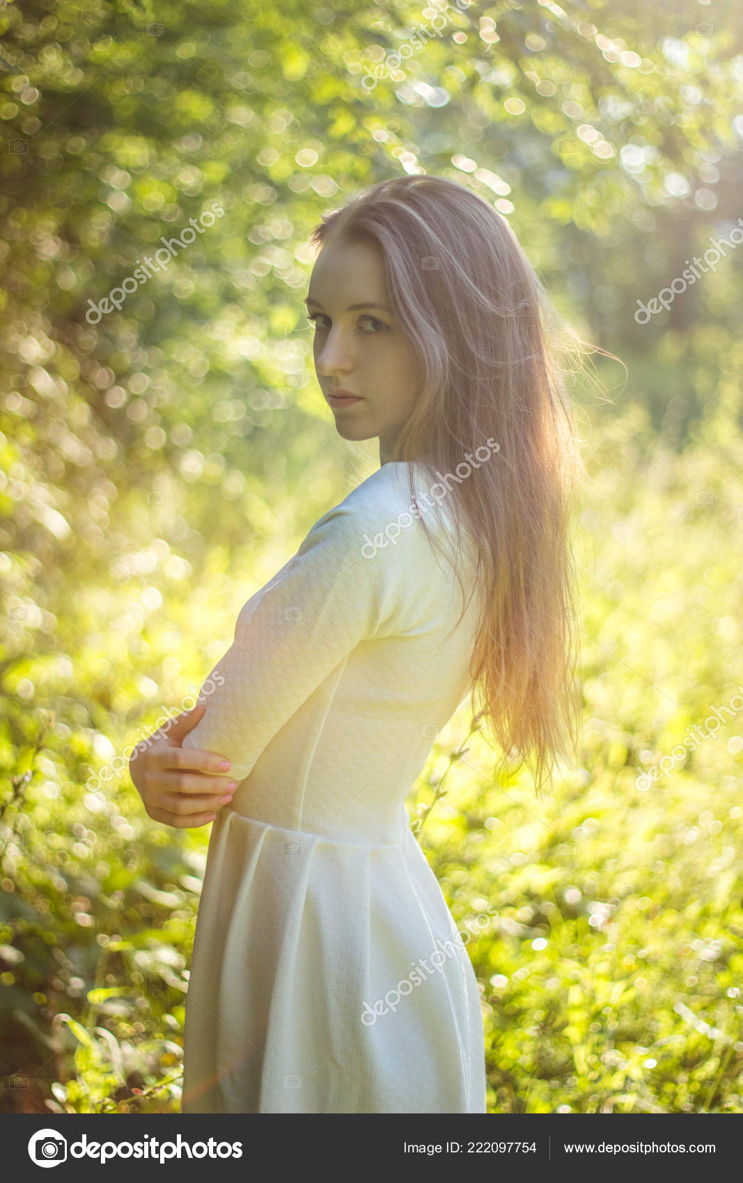 Beautiful Girl White Dress Leaves Background Natural Beauty Concept Stock Photo C Anastasia2425 Gmail Com 222097754