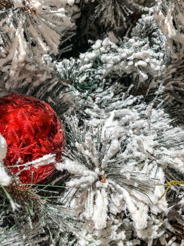 Ball close-up. Christmas toys. Christmas tree with toys.