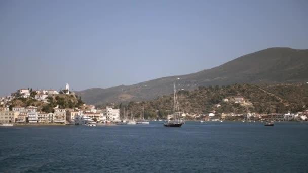 POros Port, Greek Saronic Island. Travel Europe. Greek village
