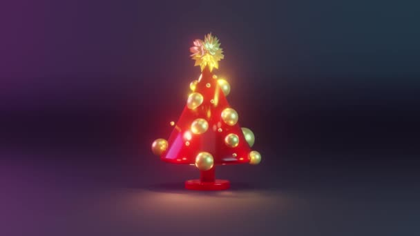 Christmas tree in red and golden colors rotating at night. December season. new year. 3d render