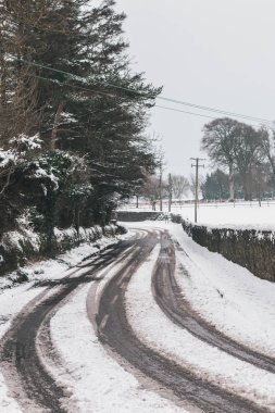 Very dangerous roads in the peak of Storm Emma, also known as the Beast from the East, which hit Ireland at the start of March: no tire markings on the roads, no one traveling during red weather warning.