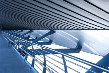 Blue modern metal industrial architecture construction