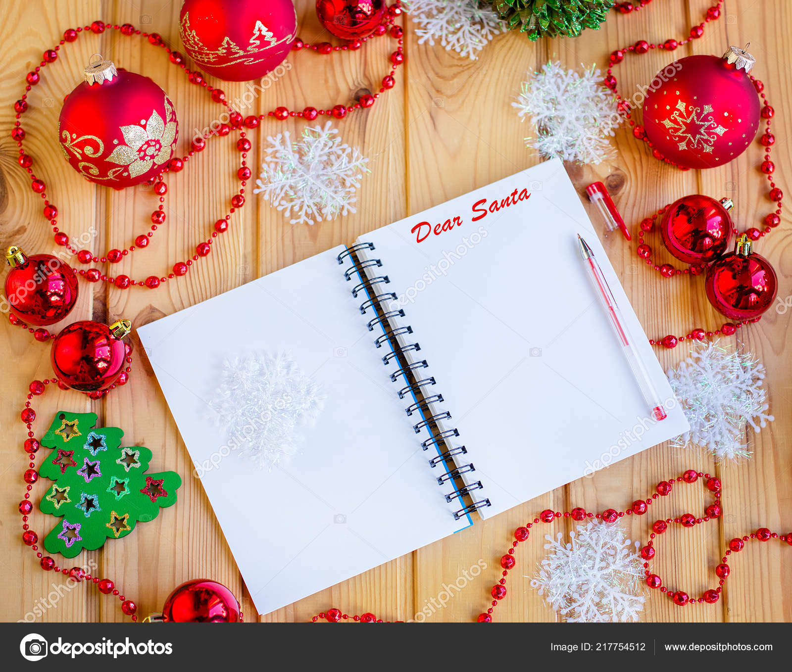 Child Writes Letter Santa Claus Table Christmas Tree Decorations View — Stock Photo