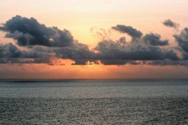 Sunset seascape on Bali. Nature of Indonesia. Travel around Asia.