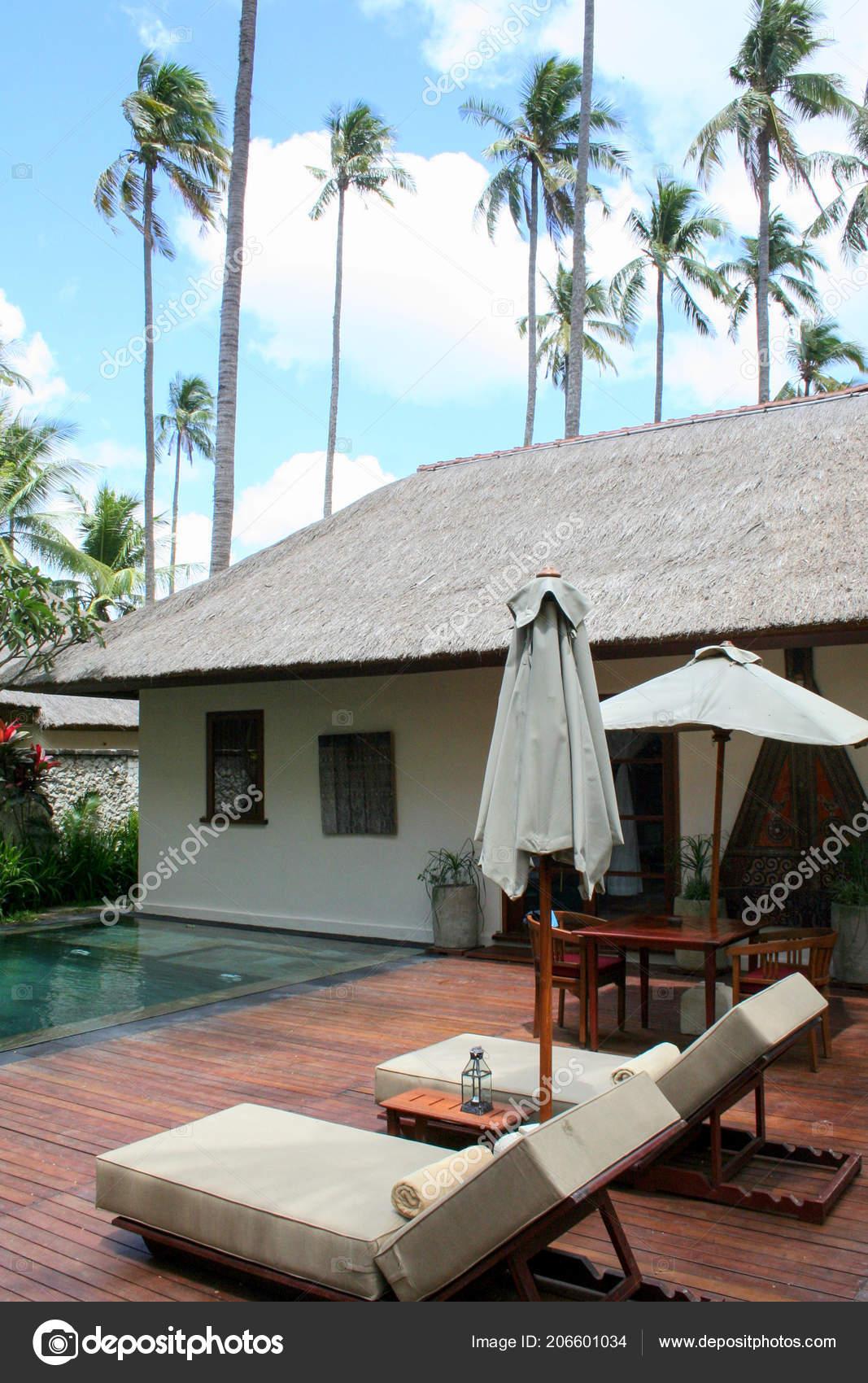 2009 Ubud Bali Sunbeds Umbrellas Swimming Pool Palm Trees