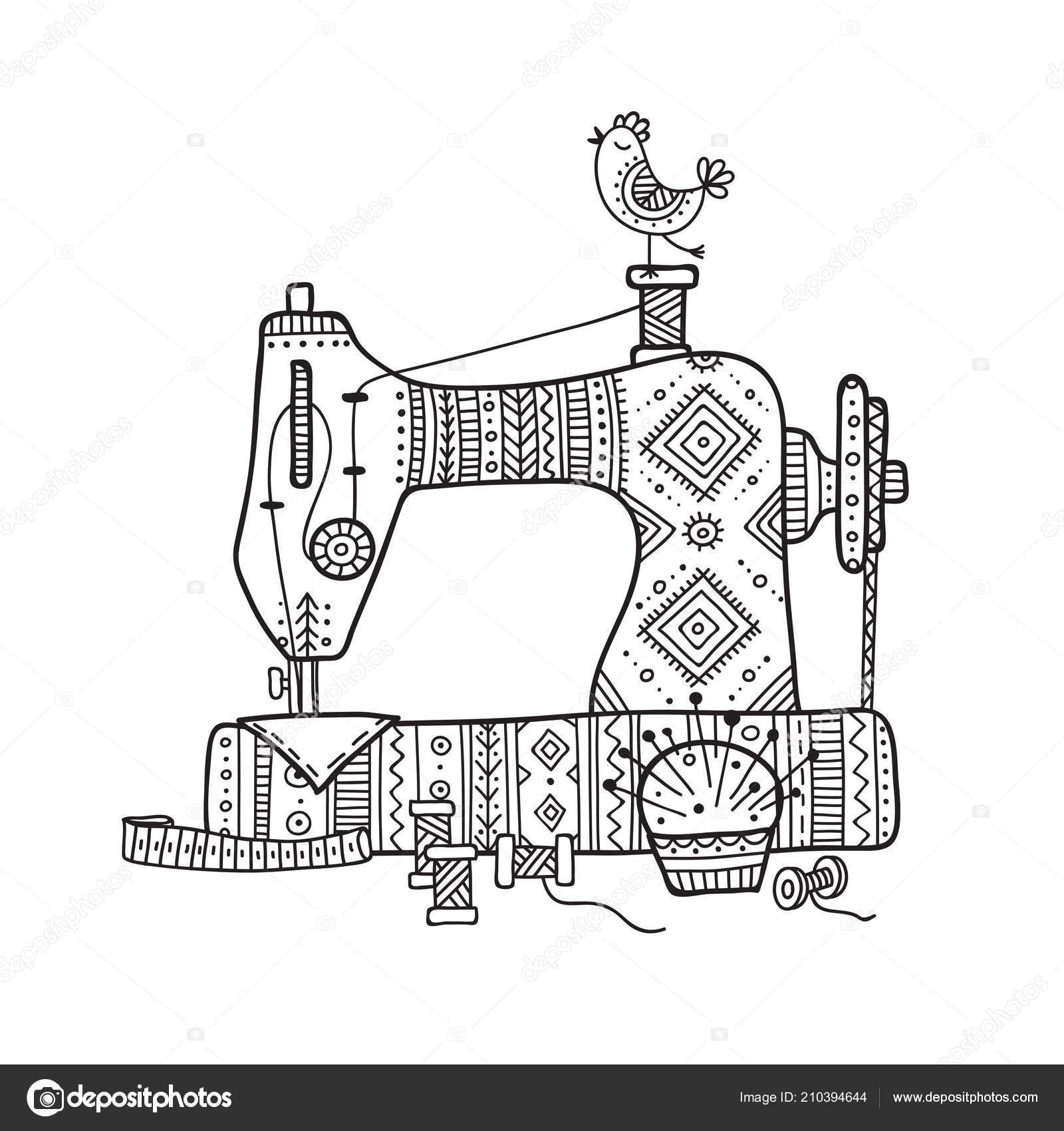 vektor illustration der n hmaschine boho stil mit ornament. Black Bedroom Furniture Sets. Home Design Ideas