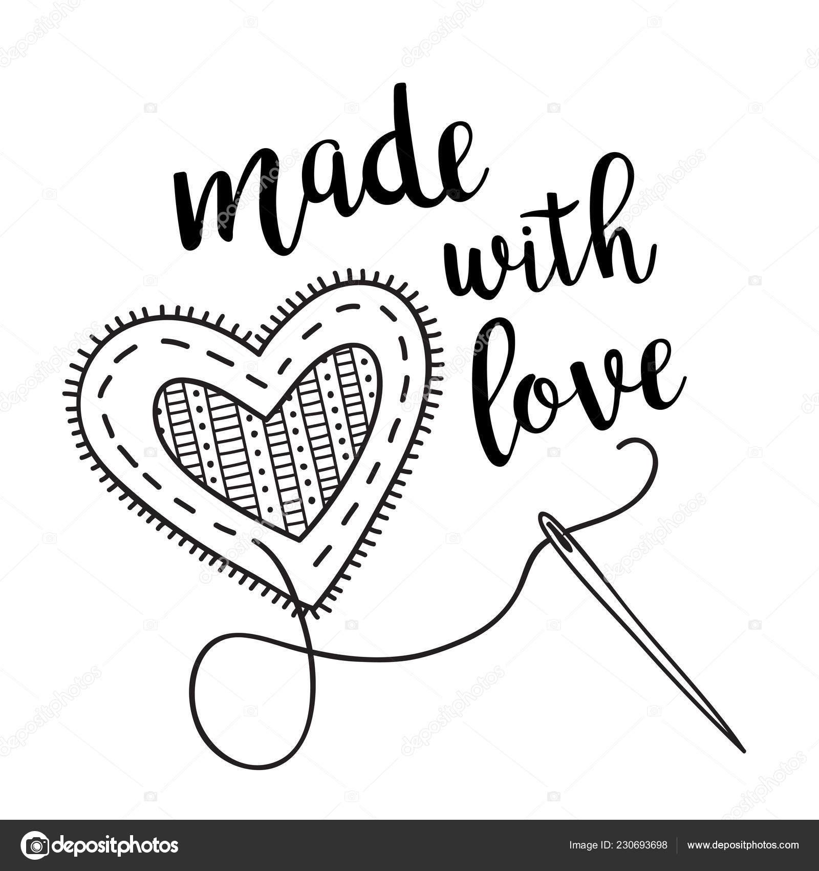 Vektör çizim Dikiş Kalp Yazı Ile Kullanılan Bir Etiket Simge Stok