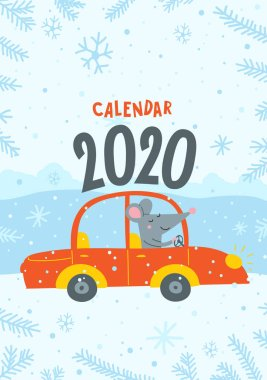 Vector calendar cover with cute rat travel by car - Chinese symbol of 2020 year