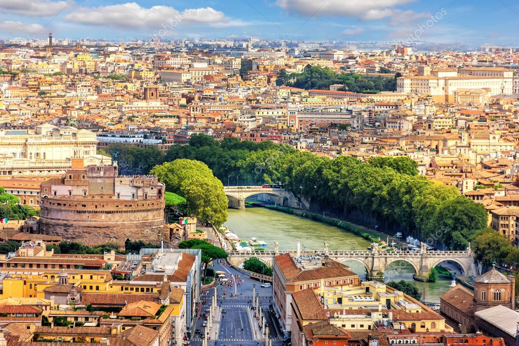 View on Castel Sant'Angelo,The Tiber and the bridges from Vatican