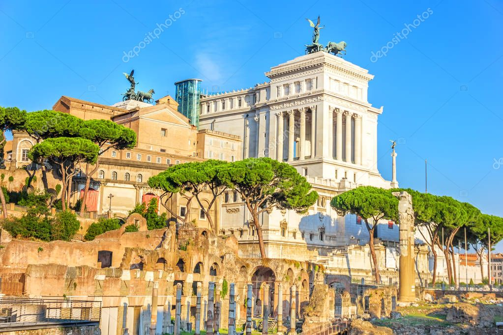 Summer view on Vittoriano from the Roman forum