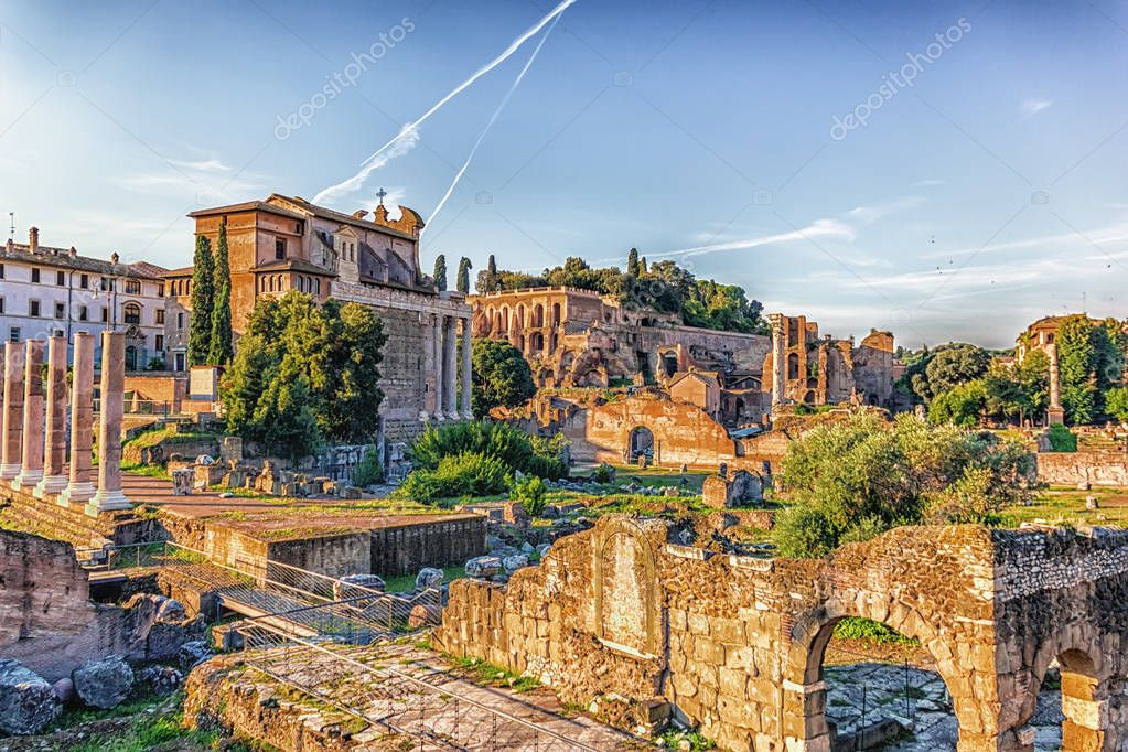 View on the Roman Forum, Tiberius Palace and the Temple of Antoninus and Faustina from the Basilica Aemilia ruins