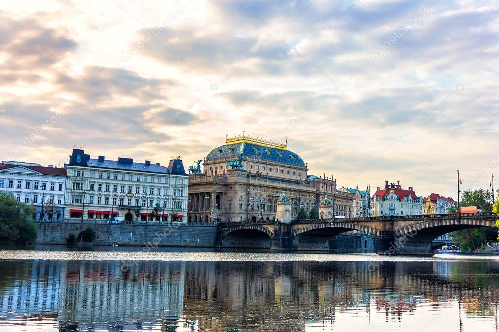 National Theatre and Legion Bridge over the Vltava river, Prague