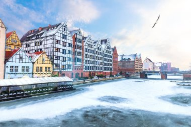 Granery Island in Gdansk, winter view from the Motlawa river, Poland